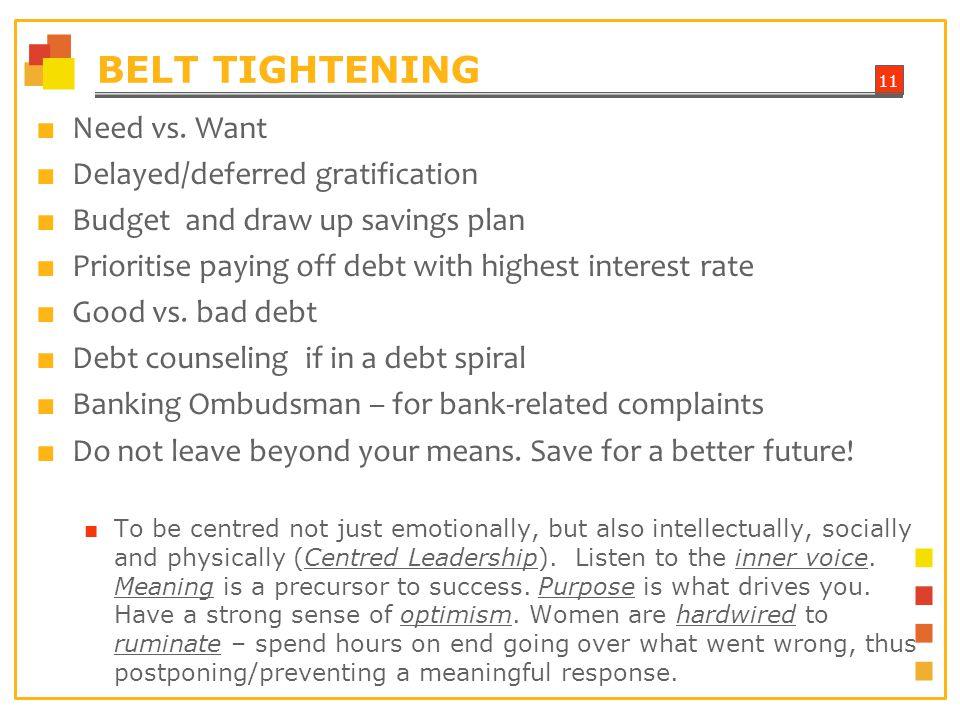 11 BELT TIGHTENING Need vs.
