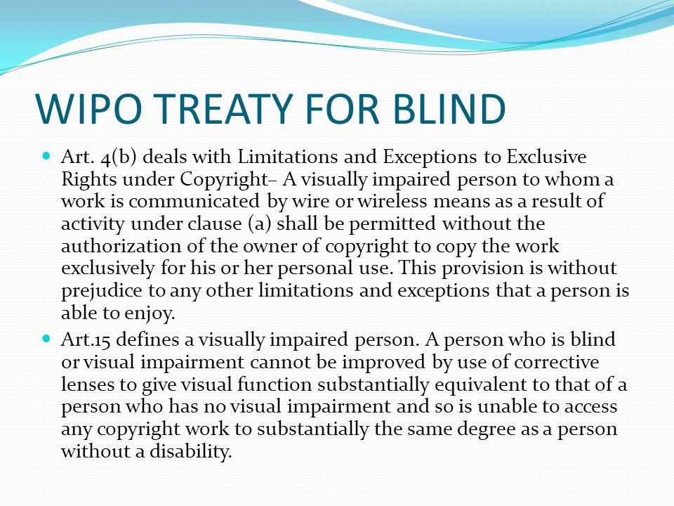WIPO TREATY FOR BLIND Art.