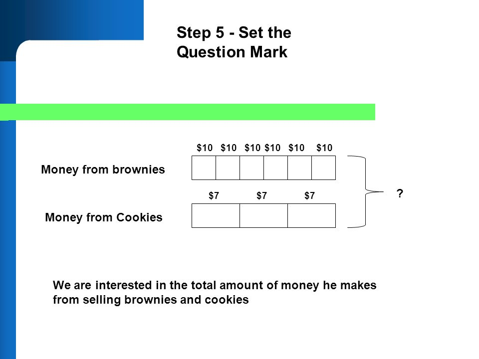 Money from brownies Money from Cookies $10 $7 ? $10 $7 Step 5 - Set the Question Mark We are interested in the total amount of money he makes from sel