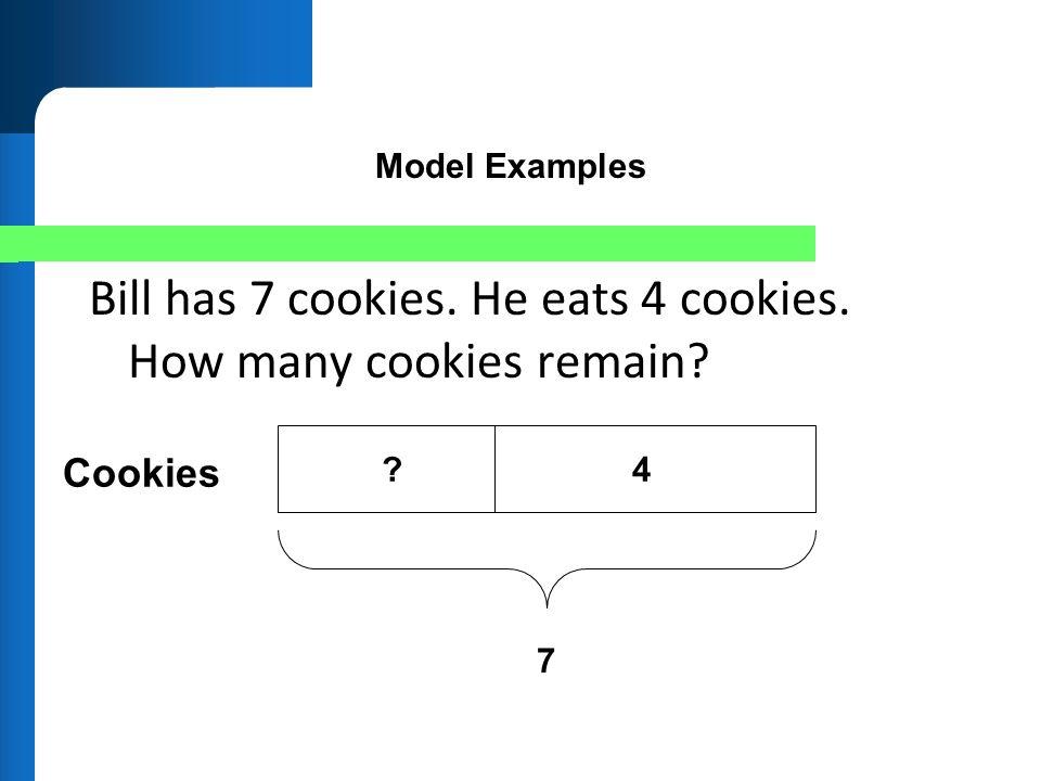 Bill has 7 cookies. He eats 4 cookies. How many cookies remain? 4? 7 Cookies Model Examples
