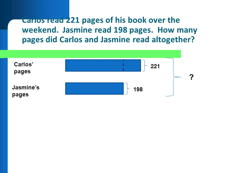 Carlos read 221 pages of his book over the weekend. Jasmine read 198 pages. How many pages did Carlos and Jasmine read altogether? Carlos pages Jasmin