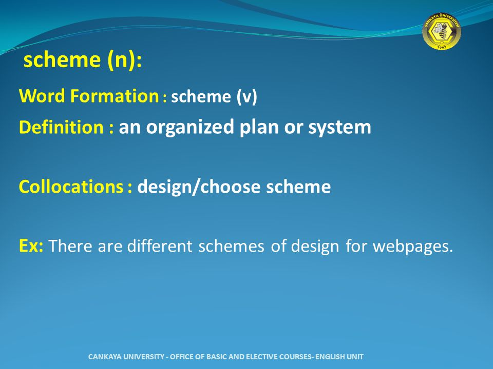 scheme (n) : Word Formation : scheme (v) Definition : an organized plan or system Collocations : design/choose scheme Ex: There are different schemes of design for webpages.
