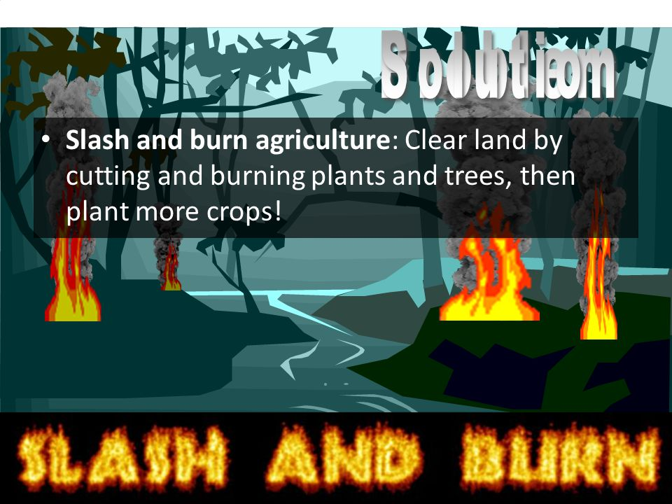 Slash and burn agriculture: Clear land by cutting and burning plants and trees, then plant more crops!