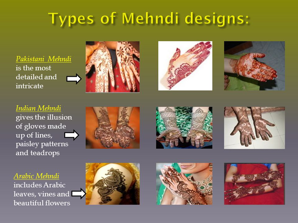 Pakistani Mehndi is the most detailed and intricate Indian Mehndi gives the illusion of gloves made up of lines, paisley patterns and teadrops Arabic Mehndi includes Arabic leaves, vines and beautiful flowers