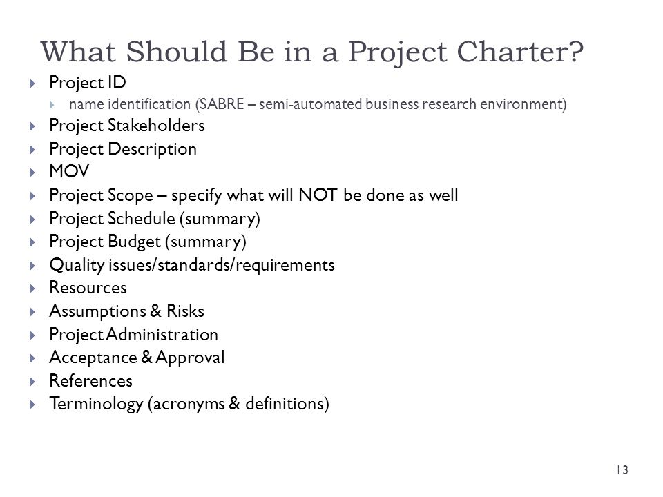 What Should Be in a Project Charter? Project ID name identification (SABRE – semi-automated business research environment) Project Stakeholders Projec