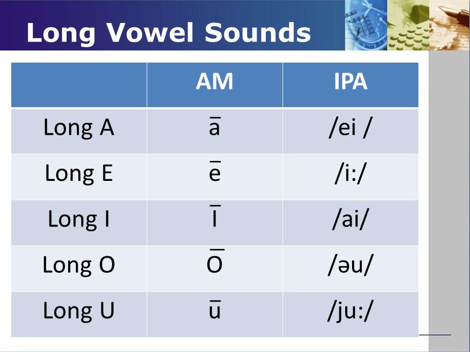 Long Vowel Sounds AMIPA Long Aa/ei / Long Ee/i:/ Long II/ai/ Long OO/əu/ Long Uu/ju:/