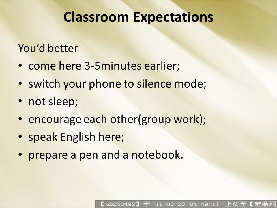 Classroom Expectations Youd better come here 3-5minutes earlier; switch your phone to silence mode; not sleep; encourage each other(group work); speak
