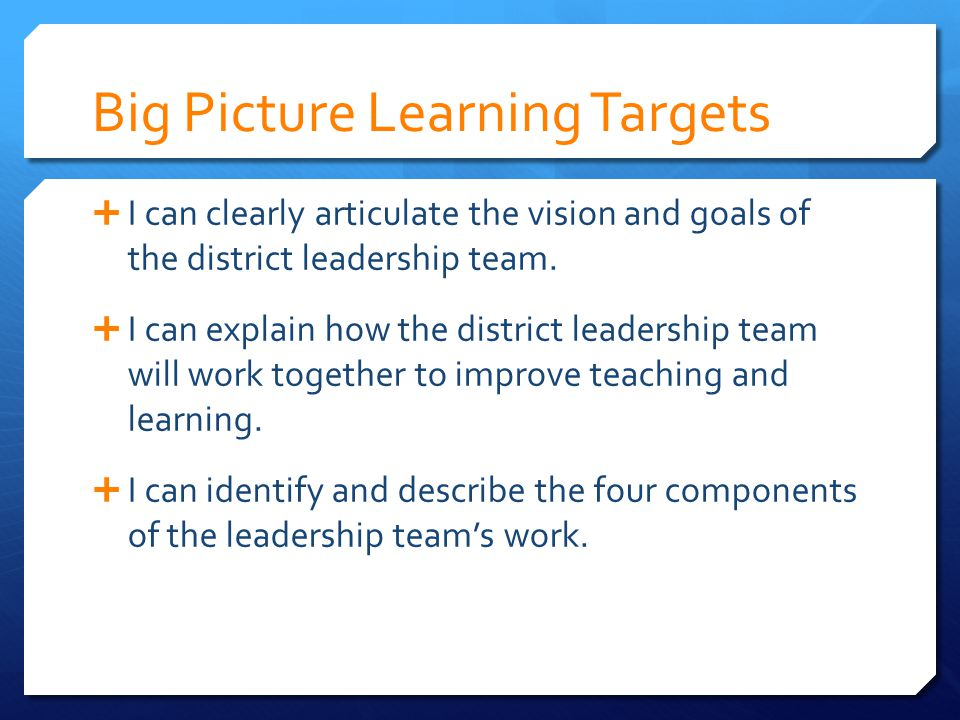 Big Picture SB 1 Focus on college / career readiness Revise standards Revise assessment system Collaborate across all groups / levels Improve the effectiveness of teaching and learning
