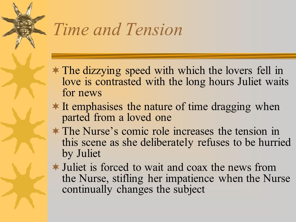 Time and Tension The dizzying speed with which the lovers fell in love is contrasted with the long hours Juliet waits for news It emphasises the natur
