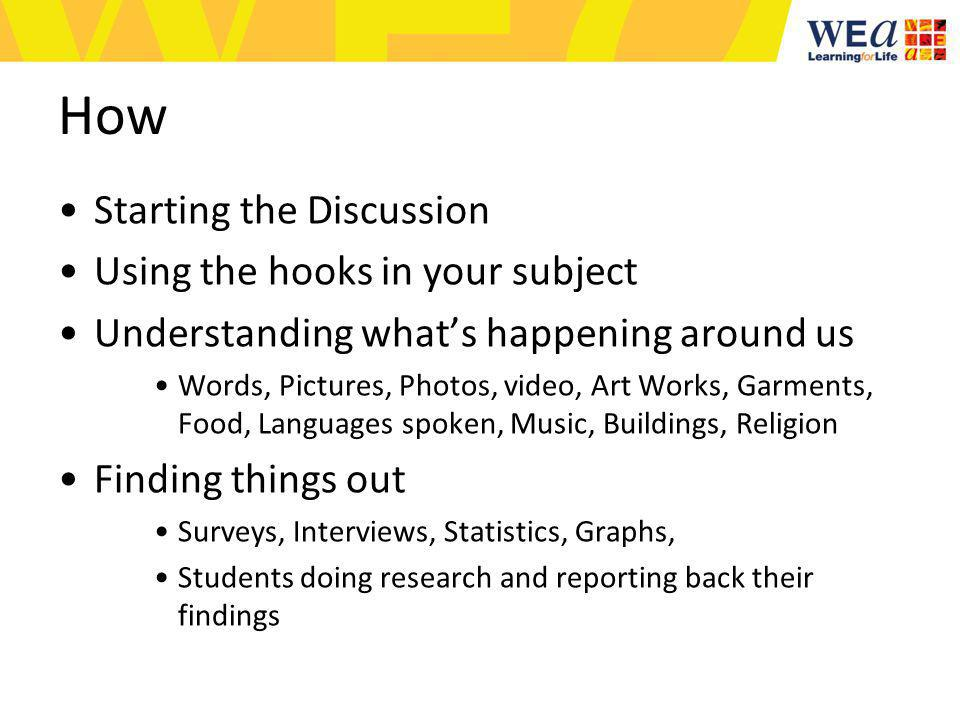 How Starting the Discussion Using the hooks in your subject Understanding whats happening around us Words, Pictures, Photos, video, Art Works, Garments, Food, Languages spoken, Music, Buildings, Religion Finding things out Surveys, Interviews, Statistics, Graphs, Students doing research and reporting back their findings