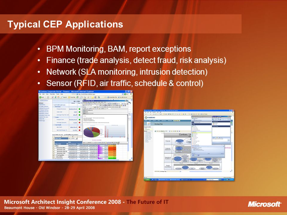 BPM Monitoring, BAM, report exceptions Finance (trade analysis, detect fraud, risk analysis) Network (SLA monitoring, intrusion detection) Sensor (RFI