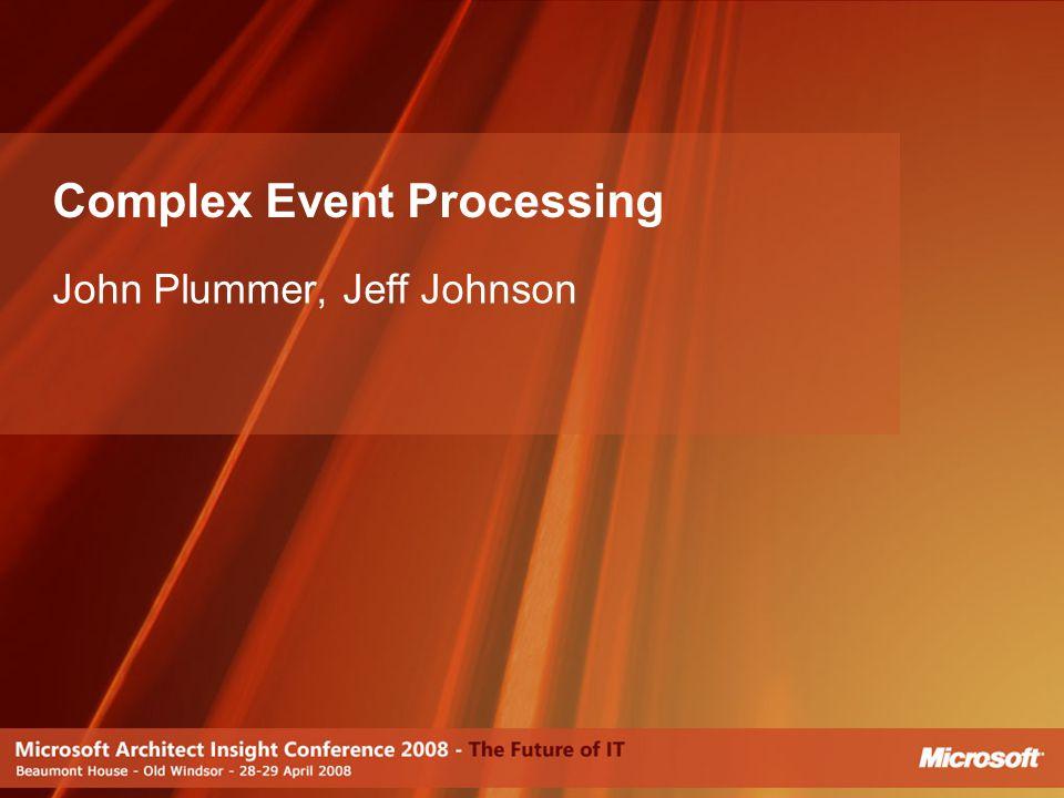 Complex Event Processing John Plummer, Jeff Johnson