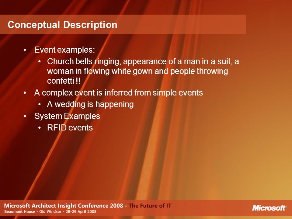 Event examples: Church bells ringing, appearance of a man in a suit, a woman in flowing white gown and people throwing confetti !! A complex event is