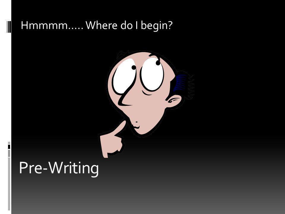 Pre-Writing Hmmmm….. Where do I begin