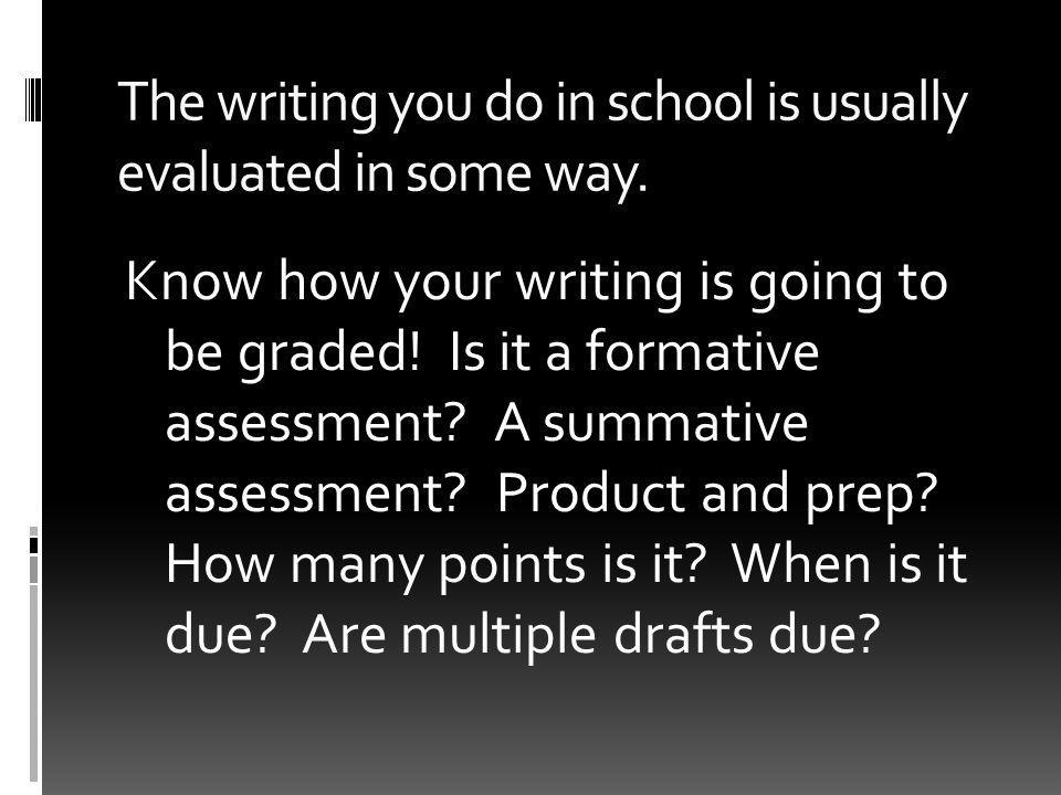 The writing you do in school is usually evaluated in some way.