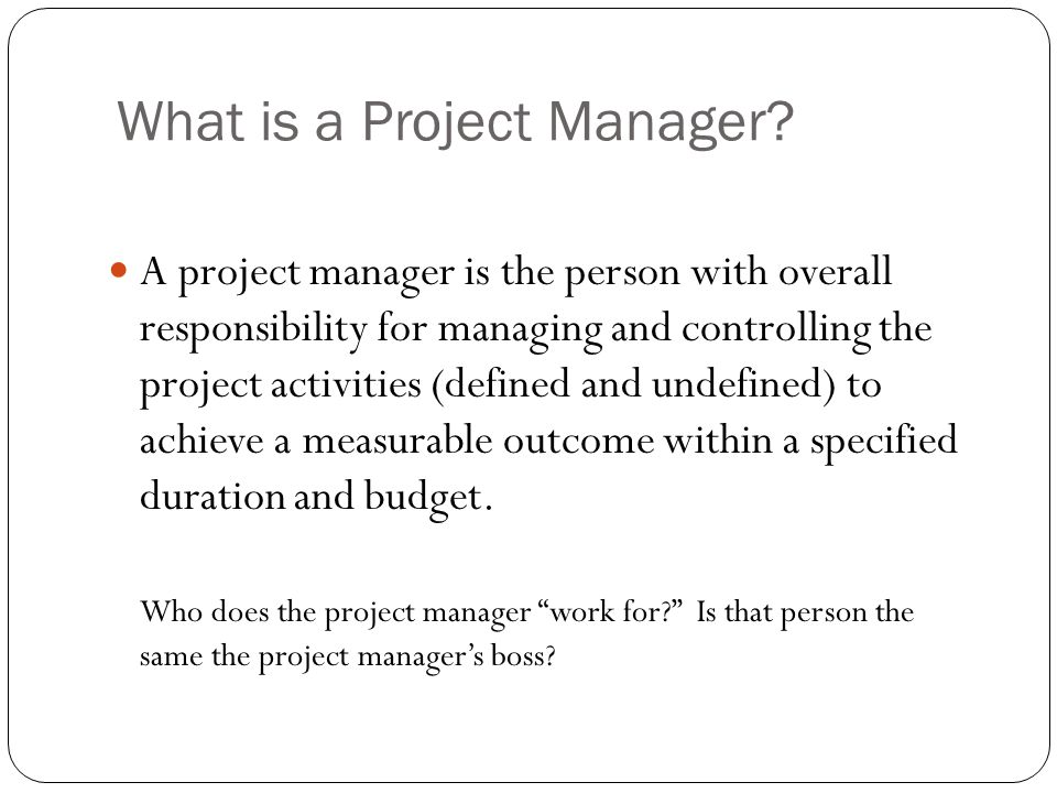 What is a Project Manager.