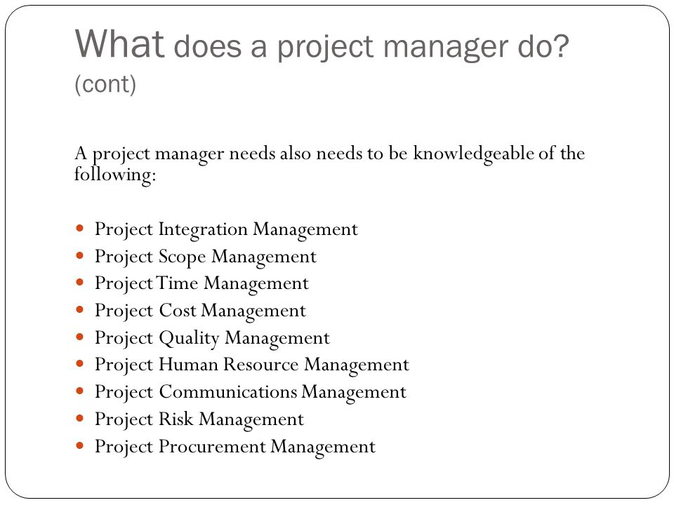 What does a project manager do.