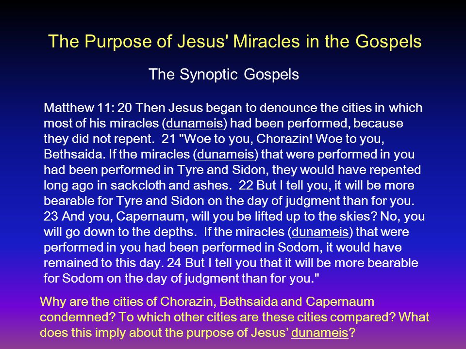The Purpose of Jesus Miracles in the Gospels Mark 6:1-3 Jesus left there and went to his hometown, accompanied by his disciples.