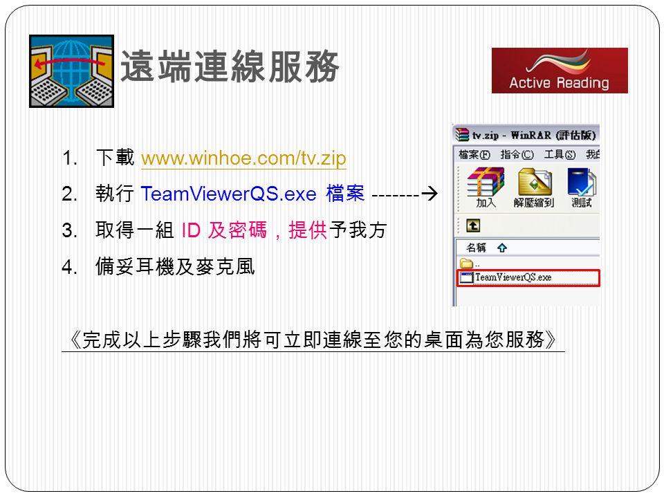 1. www.winhoe.com/tv.zipwww.winhoe.com/tv.zip 2. TeamViewerQS.exe ------- 3. ID 4.