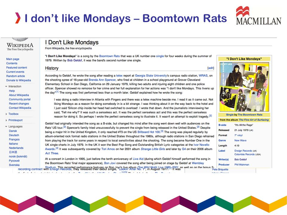 I dont like Mondays – Boomtown Rats Webquest presentations Find out as much as you can about your topic and then prepare a three minute presentation for the rest of the class Group A - Bob Geldof Group B – The Boomtown Rats Group C – I dont like Mondays Start with Wikipedia in English!