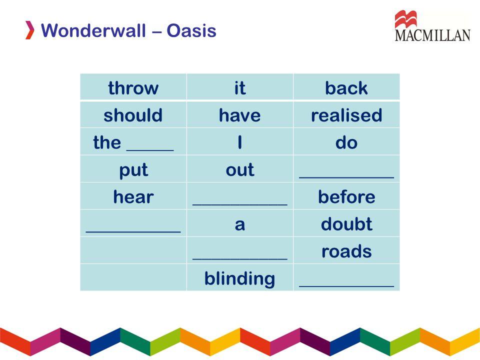 Wonderwall – Oasis throwitback shouldhaverealised the _____Ido putout__________ hear__________before __________adoubt __________roads blinding________