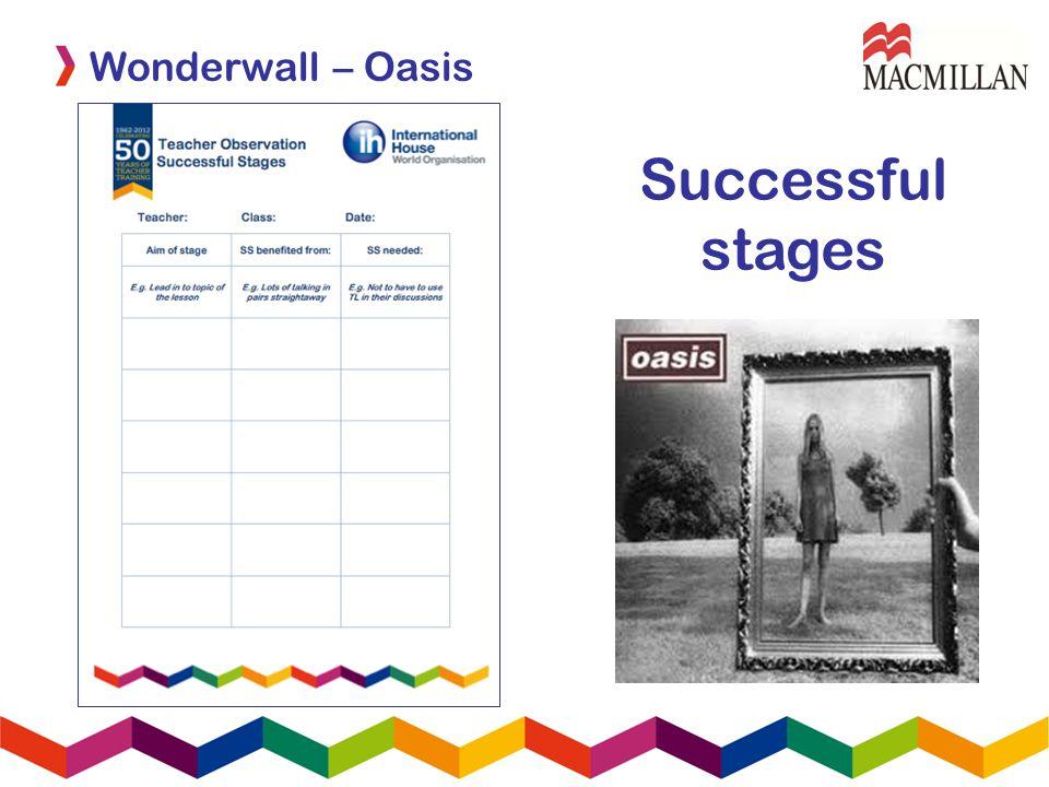 Successful stages Wonderwall – Oasis
