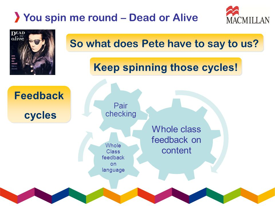 You spin me round – Dead or Alive So what does Pete have to say to us.