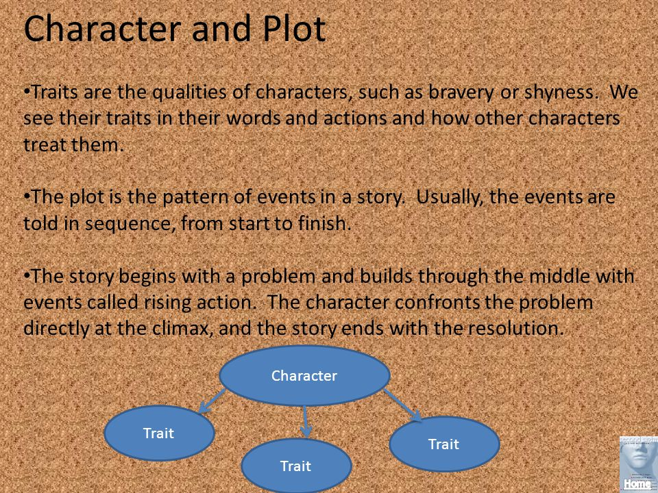 Character and Plot Traits are the qualities of characters, such as bravery or shyness.