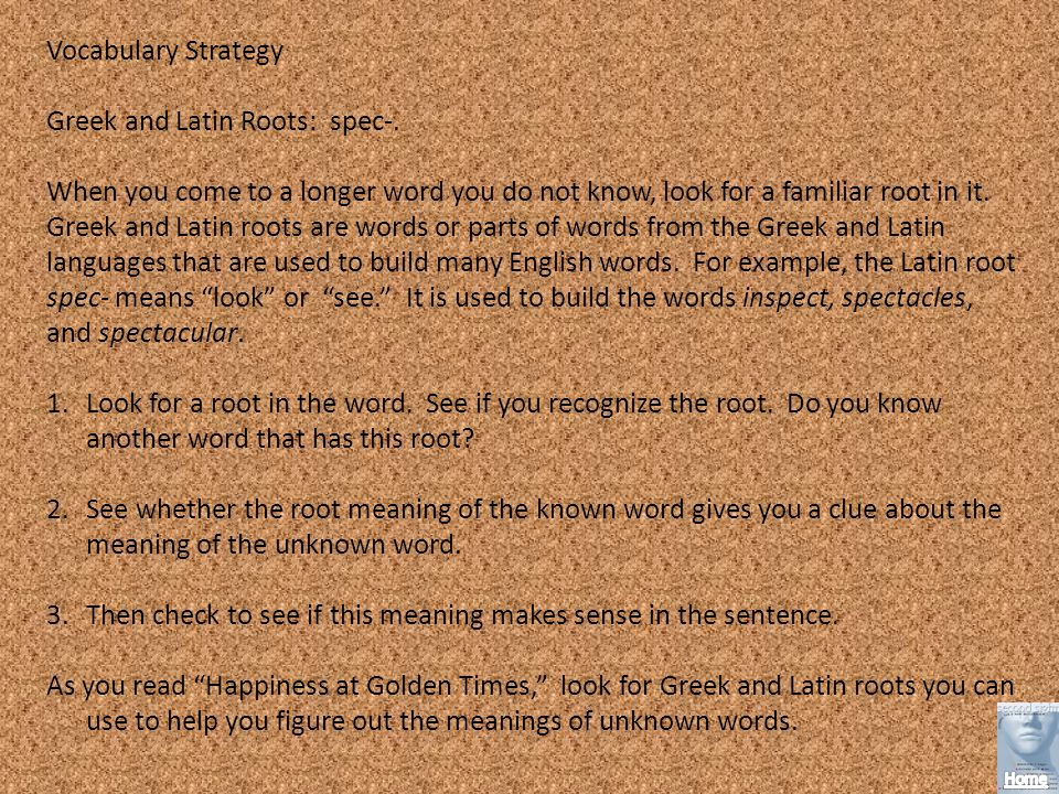 Vocabulary Strategy Greek and Latin Roots: spec-.