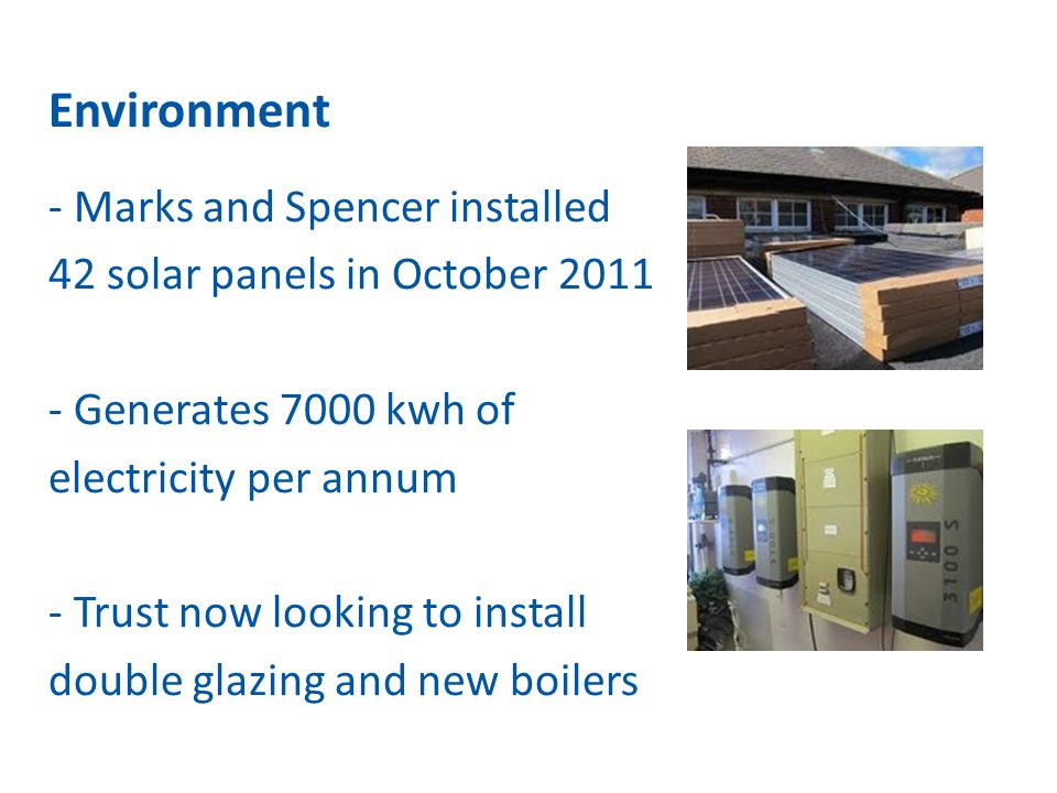 Environment - Marks and Spencer installed 42 solar panels in October 2011 - Generates 7000 kwh of electricity per annum - Trust now looking to install