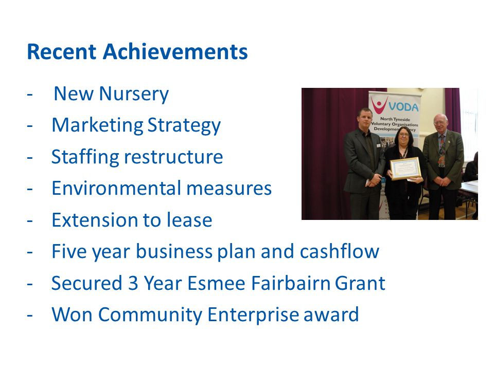 Recent Achievements - New Nursery -Marketing Strategy -Staffing restructure -Environmental measures -Extension to lease -Five year business plan and c