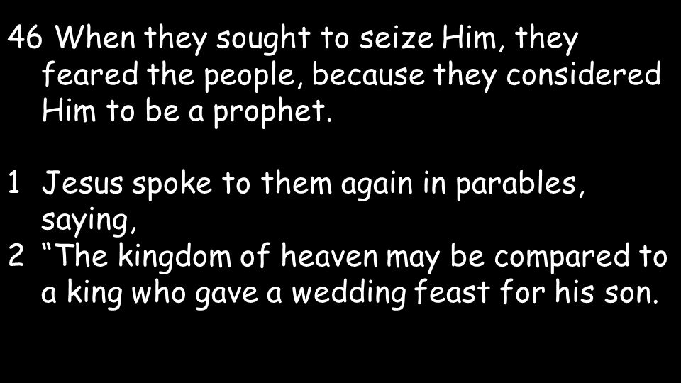 46 When they sought to seize Him, they feared the people, because they considered Him to be a prophet.