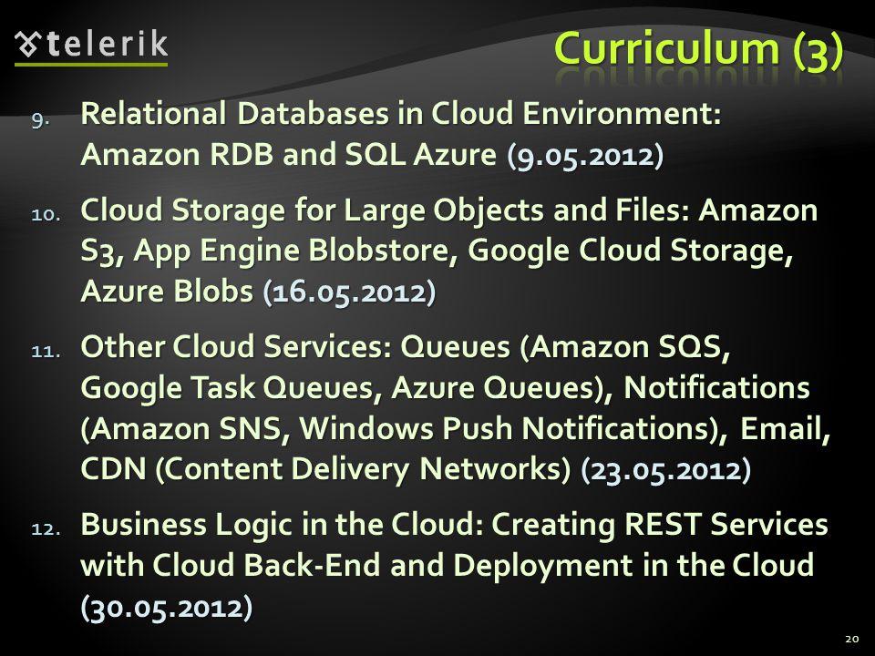 9. Relational Databases in Cloud Environment: (9.05.2012) 9. Relational Databases in Cloud Environment: Amazon RDB and SQL Azure (9.05.2012) 10. Cloud