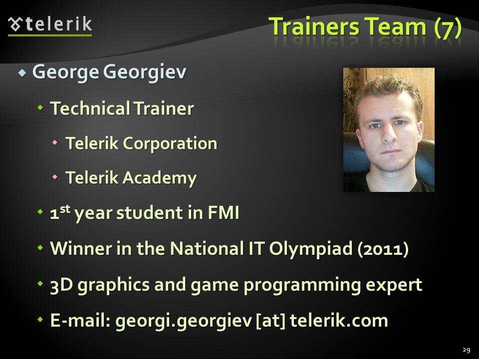 George Georgiev George Georgiev Technical Trainer Technical Trainer Telerik Corporation Telerik Corporation Telerik Academy Telerik Academy 1 st year