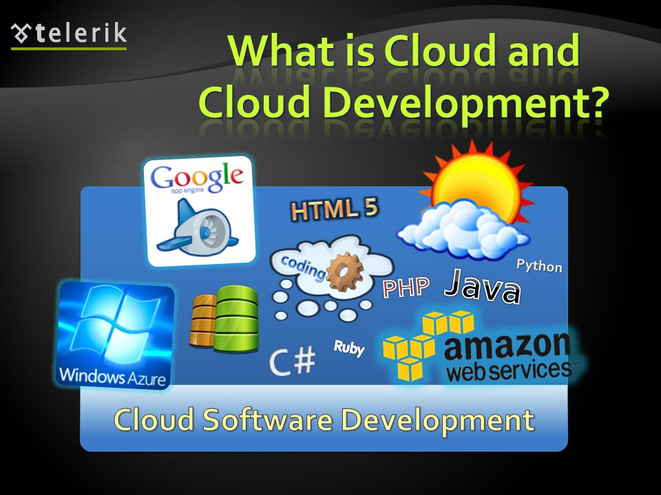 Cloud multiple hardware machines combine their computing power and resources Cloud multiple hardware machines combine their computing power and resources Share them between multiple applications Share them between multiple applications To save costs and use resources more efficiently To save costs and use resources more efficiently Public clouds Public clouds Provide computing resources on demand Provide computing resources on demand Publicly in Internet Publicly in Internet Paid or free of charge (to some limit) Paid or free of charge (to some limit) Amazon AWS, Google App Engine, Microsoft Azure, Rackspace, PHPFog, Heroku, AppHarbor Amazon AWS, Google App Engine, Microsoft Azure, Rackspace, PHPFog, Heroku, AppHarbor 9