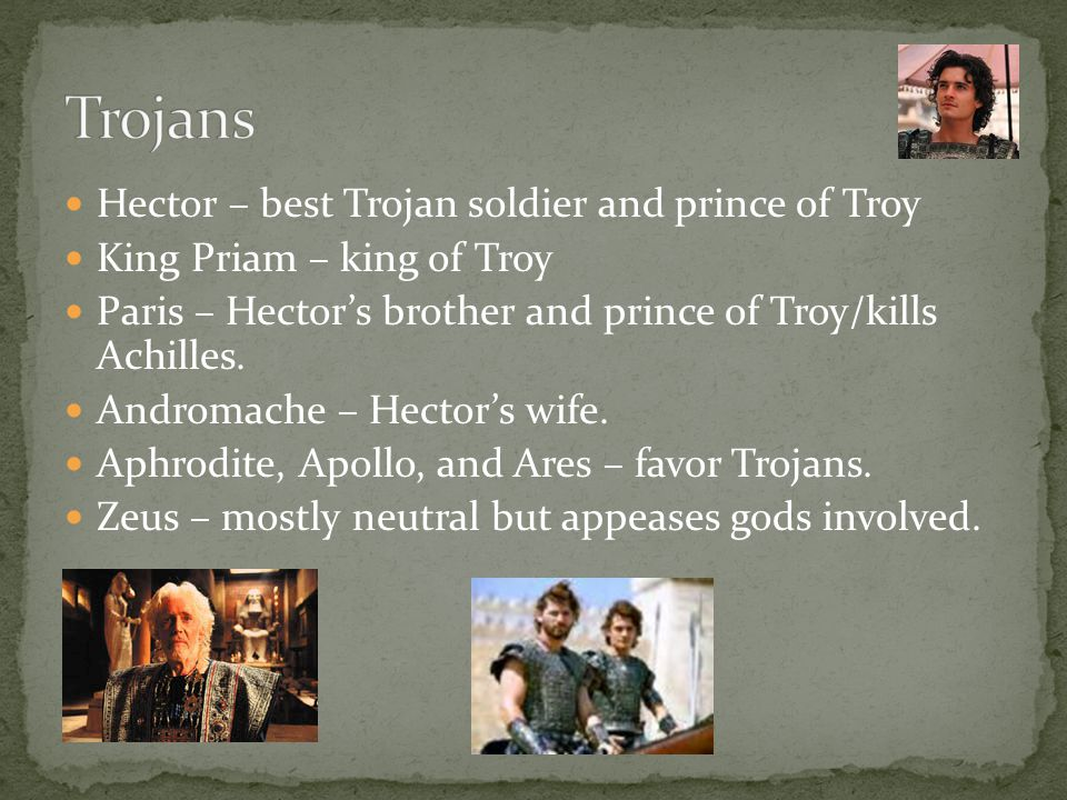 Hector – best Trojan soldier and prince of Troy King Priam – king of Troy Paris – Hectors brother and prince of Troy/kills Achilles. Andromache – Hect