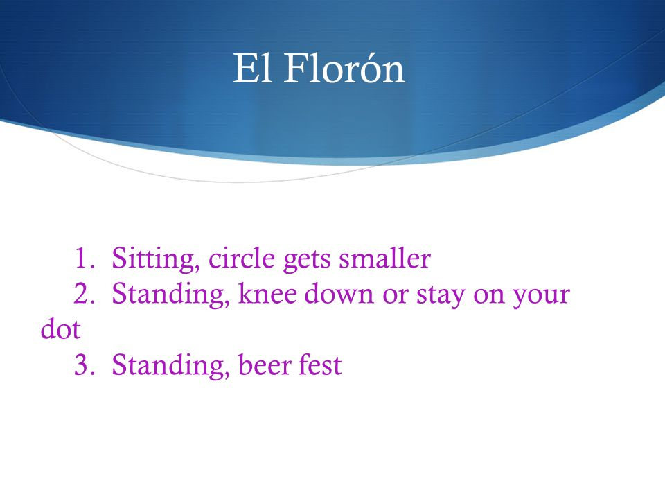 1. Sitting, circle gets smaller 2. Standing, knee down or stay on your dot 3. Standing, beer fest