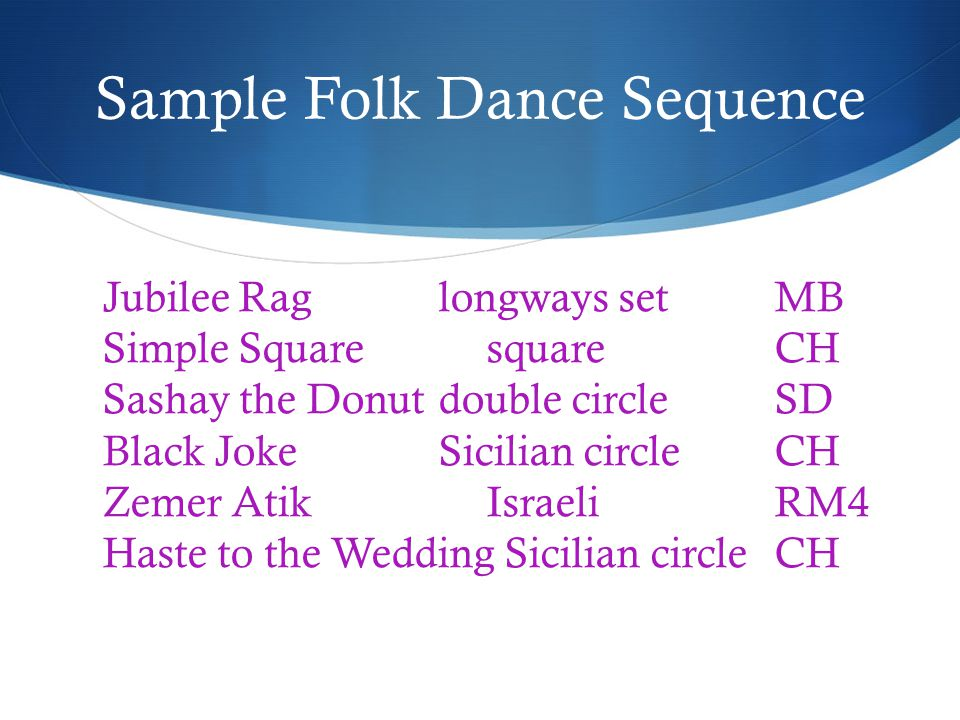 Sample Folk Dance Sequence Jubilee Raglongways setMB Simple SquaresquareCH Sashay the Donutdouble circleSD Black JokeSicilian circleCH Zemer AtikIsraeliRM4 Haste to the Wedding Sicilian circleCH