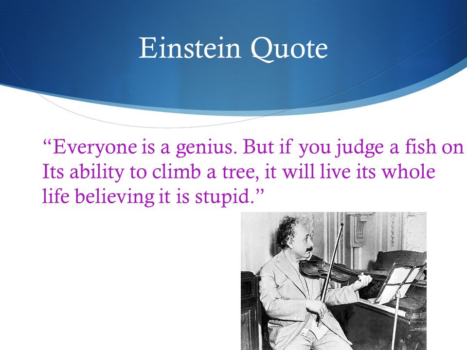 Einstein Quote Everyone is a genius.
