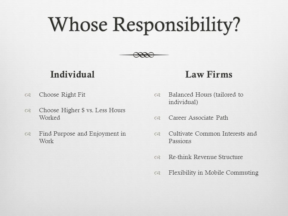 Whose Responsibility?Whose Responsibility? Individual Choose Right Fit Choose Higher $ vs. Less Hours Worked Find Purpose and Enjoyment in Work Law Fi