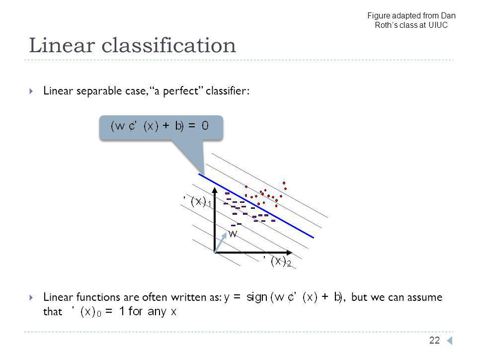 Linear classification 22 Linear separable case, a perfect classifier: Linear functions are often written as:, but we can assume that Figure adapted from Dan Roths class at UIUC