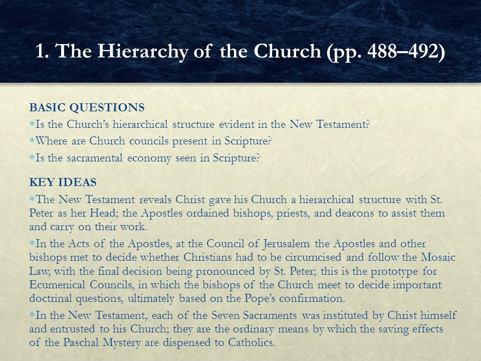 BASIC QUESTIONS Is the Churchs hierarchical structure evident in the New Testament? Where are Church councils present in Scripture? Is the sacramental