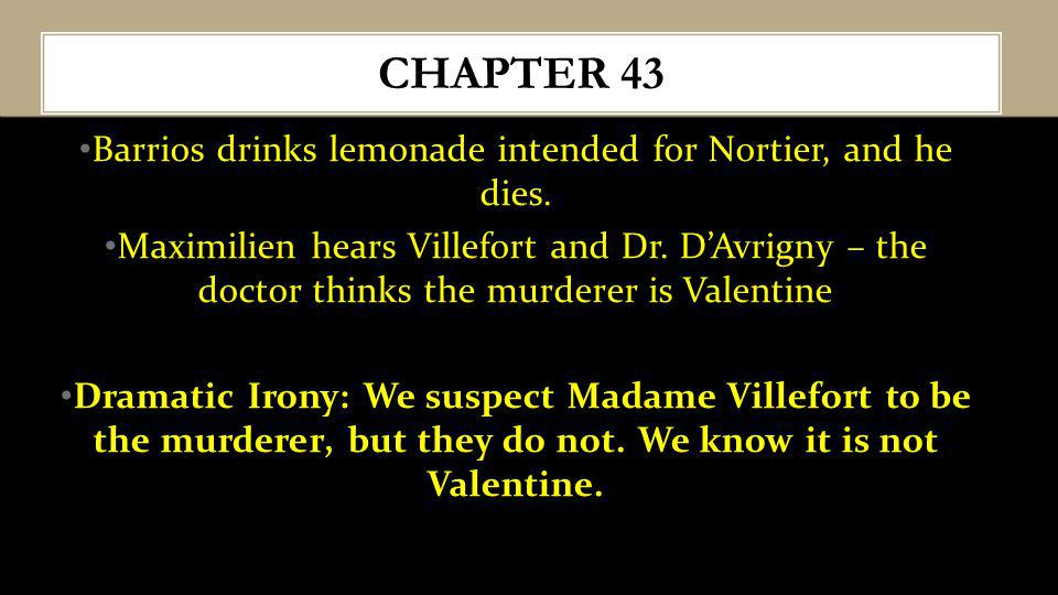 Barrios drinks lemonade intended for Nortier, and he dies. Maximilien hears Villefort and Dr. DAvrigny – the doctor thinks the murderer is Valentine D