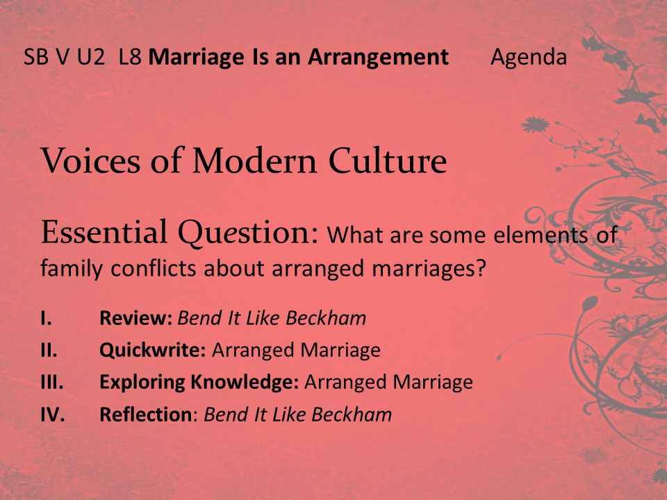 Voices of Modern Culture Essential Question: What are some elements of family conflicts about arranged marriages? I.Review: Bend It Like Beckham II.Qu