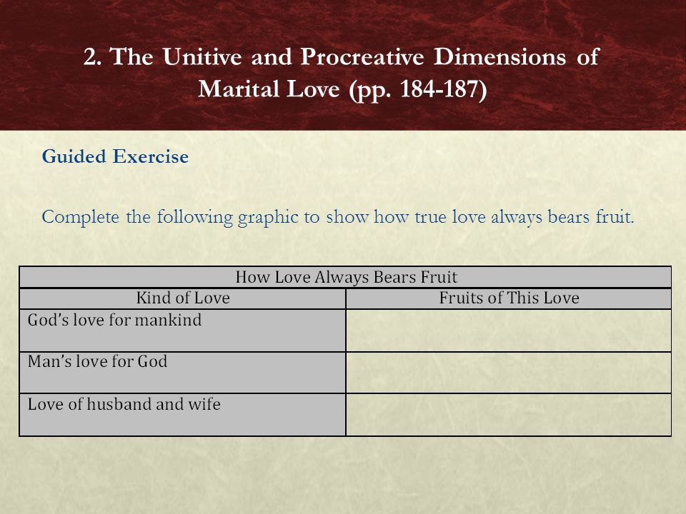 Guided Exercise Complete the following graphic to show how true love always bears fruit. 2. The Unitive and Procreative Dimensions of Marital Love (pp