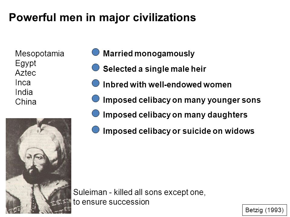 Powerful men in major civilizations Mesopotamia Egypt Aztec Inca India China Married monogamously Selected a single male heir Inbred with well-endowed women Imposed celibacy on many younger sons Imposed celibacy or suicide on widows Imposed celibacy on many daughters Suleiman - killed all sons except one, to ensure succession Betzig (1993)