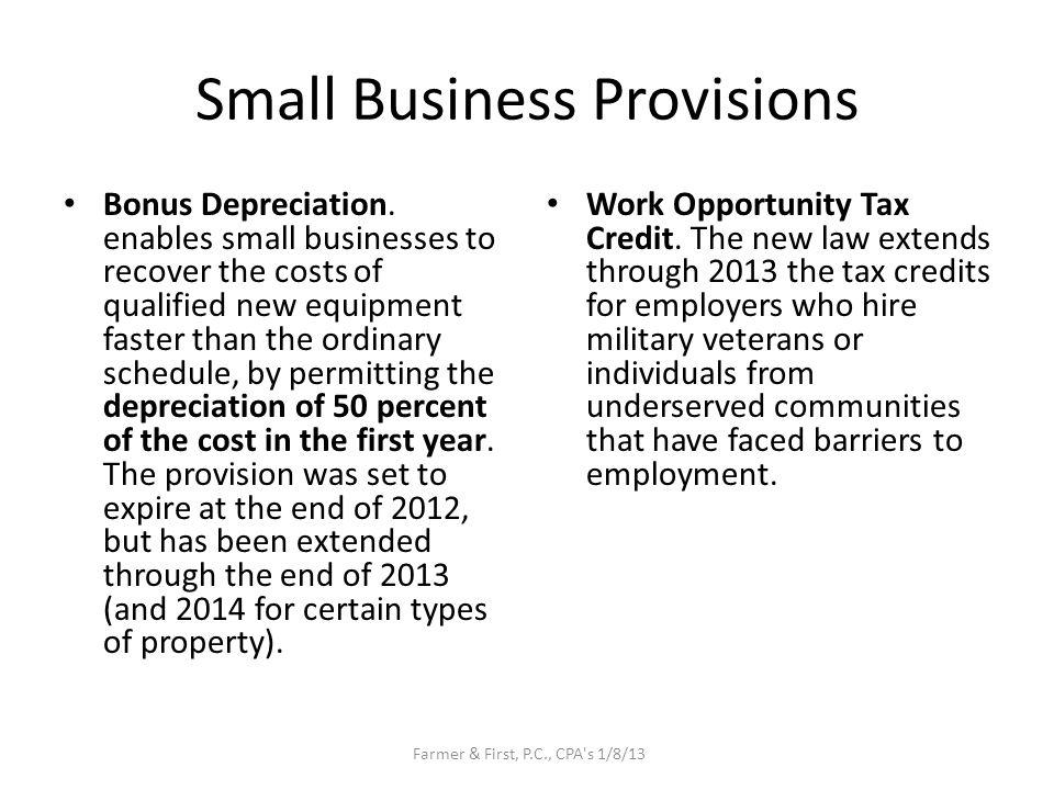 Small Business Provisions Bonus Depreciation.