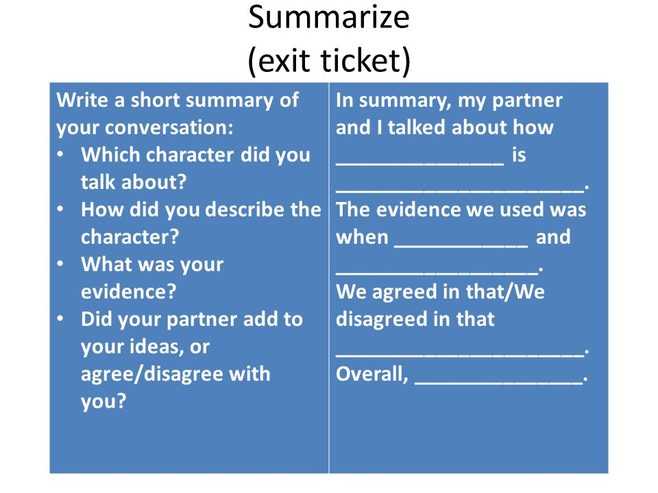 Summarize (exit ticket) Write a short summary of your conversation: Which character did you talk about? How did you describe the character? What was y