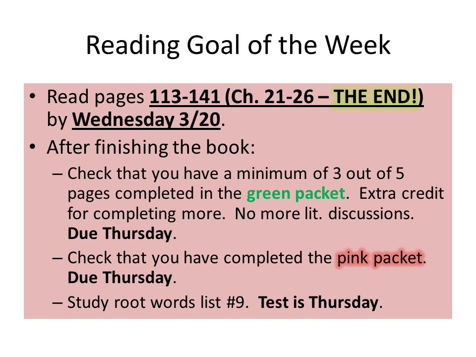 Reading Goal of the Week