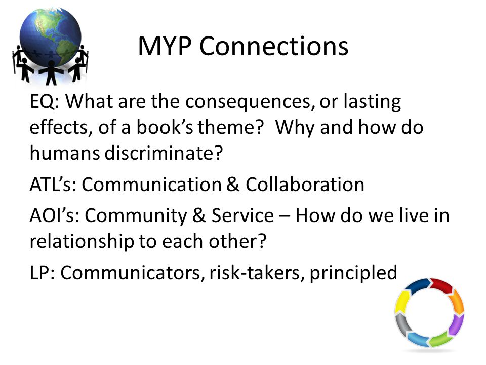 MYP Connections EQ: What are the consequences, or lasting effects, of a books theme? Why and how do humans discriminate? ATLs: Communication & Collabo